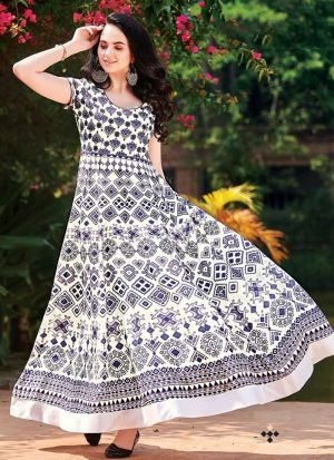 White Muslin Cotton Anarkali Style Flared Kurti