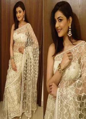 White Naylon Mono Net Bollywood Style Designer Saree