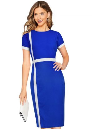 White Stripe Royal Blue Party Wear Short Dress