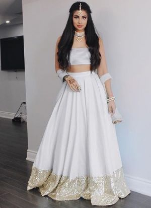 White Taffeta Silk Beautiful Lehenga Choli