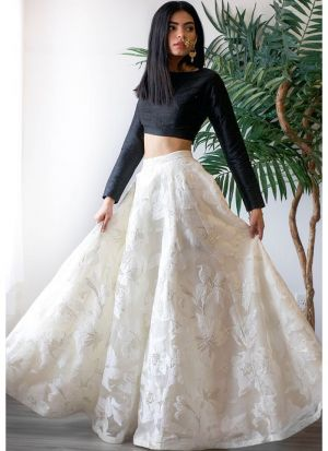 White Taffeta Silk Latest Design Lehenga Choli Collection