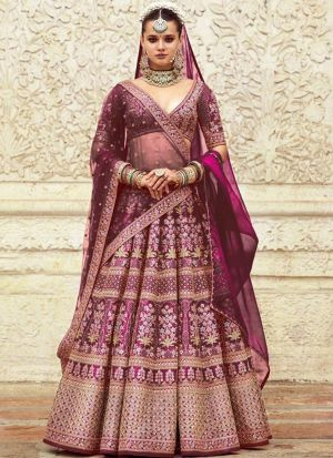 Wine Addah Silk Bridal Lehenga Choli For Wedding