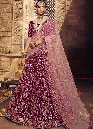 Wine Georgette Sequence Gota Work Indian Lehenga Choli