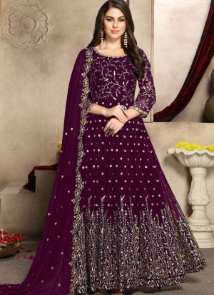Wine Georgette Traditional Anarkali Suit