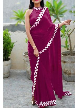 Wine Heavy Embroidery Lace Border Vichitra Silk Designer Saree