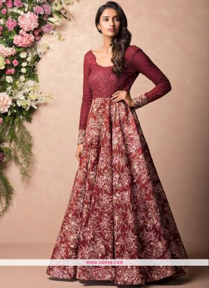 Wine Heavy Embroidery Traditional Designer Gown