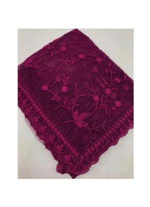Wine Naylon Net Festive Wear Traditional Saree With Fancy Thread Work