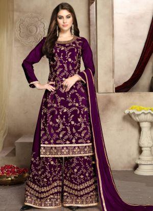 Wine Pure Viscose Upada Silk Traditional Palazzo Style Salwar Suit