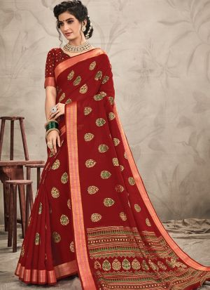 Woman Attractive Maroon Chanderi Saree