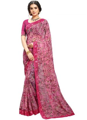 Women Traditional Pink Georgette Saree