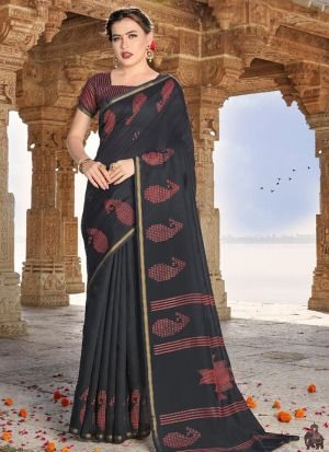 Womens Cotton Black Printed Saree