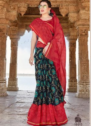 Womens Cotton Multi Color Printed Saree