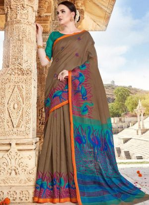Womens Cotton Multi Color Saree With Unstiched Blouse Piece