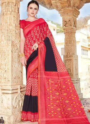 Womens Cotton Red Saree With Unstiched Blouse Piece