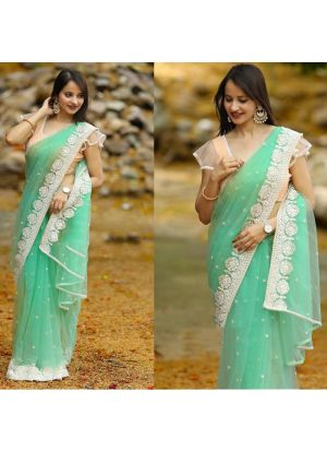 Womens Fancy Thread Work Parrot Designer Saree With Blouse Piece