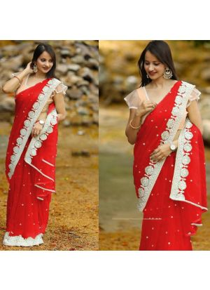 Womens Fancy Thread Work Red Designer Saree With Blouse Piece