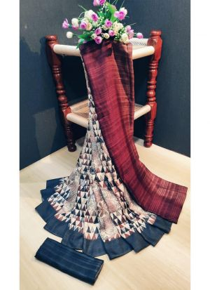 Womens Pashmina Silk Multi Color Saree With Blouse Piece