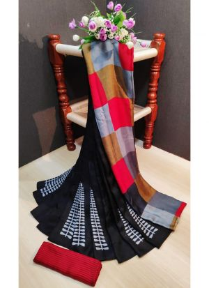 Womens Pashmina Silk Multi Color Saree With Unstiched Blouse Piece