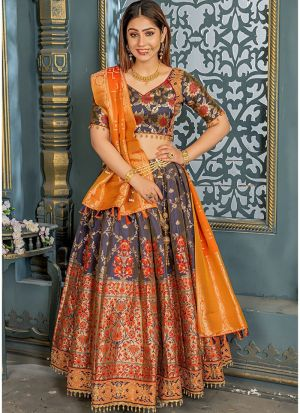Wonderfull Teal Grey Banarsi Silk Traditional Lehenga Choli