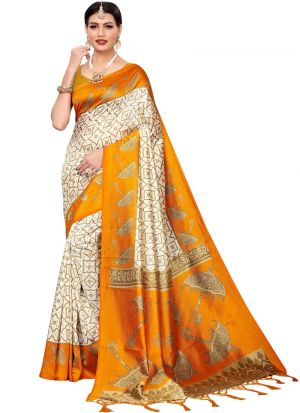 Yellow Art Silk Printed Designer Traditional Saree