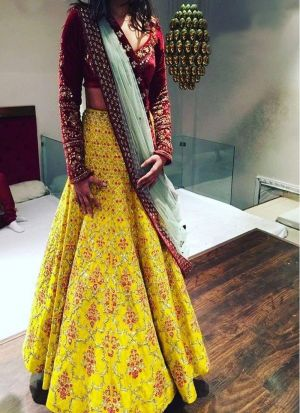 Yellow Banglori Satin Silk Designer Lehenga Choli With Fancy Thread Work NX 303