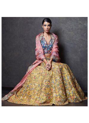 Yellow Banglori Silk Fancy Thread Work Lehenga Choli With Paper Silk Dupatta