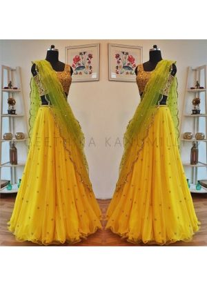 Yellow Butterfly Mono Net Designer Lehenga Choli