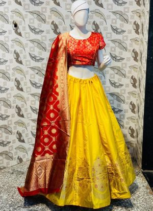 Yellow Color Jacquard Lehenga Choli With Banarasi Silk Dupatta