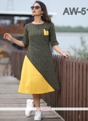 Yellow Color Regular Casual Wear Ethnic Kurti