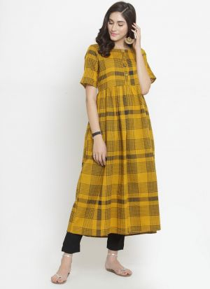 Yellow Cotton Blend New Kurti Design