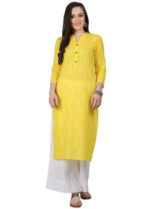 Yellow Cotton Designer Kurtis For Girl