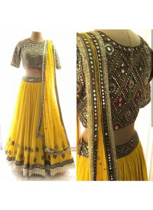 Yellow Georgette Bamberg Latest Traditional Lehenga Choli