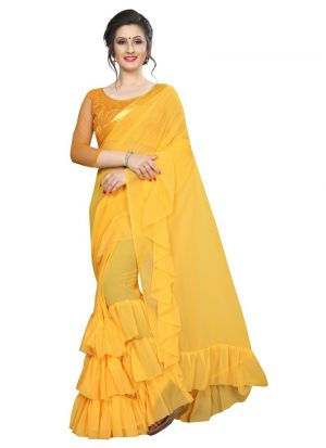 Yellow Georgette Solid Party Wear Designer Ruffle Saree