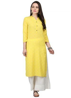 Yellow Girls Cotton Long Kurti