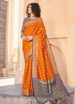 Yellow Handloom Silk Beutiful Wedding Saree