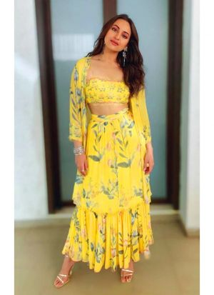 Yellow Indo Western Lehenga Choli