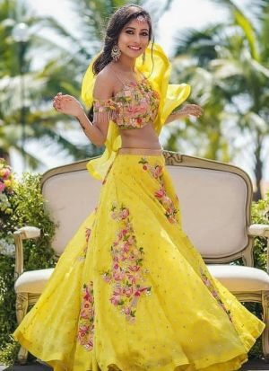 Yellow Lehenga Choli Banglori Silk Fancy Thread Work With Gorgette Dupatta