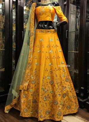 Yellow Lehenga Choli Banglori Silk Fancy Thread Work With Mono Net Dupatta