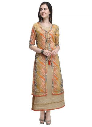 Yellow Leheriya Print Beautiful Heavy Cotton Kurti