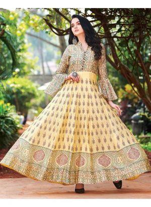 Yellow Muslin Cotton Anarkali Style Flared Kurti