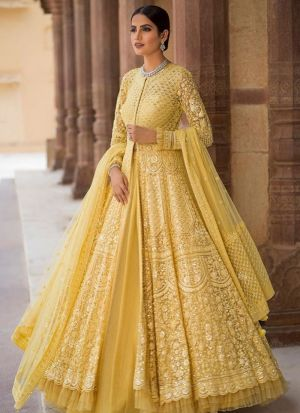 Yellow Net Hit Design Partywear Lehenga Choli