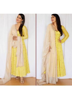 Yellow New Arrival Of Special Anarkali Suit Collection For Festival
