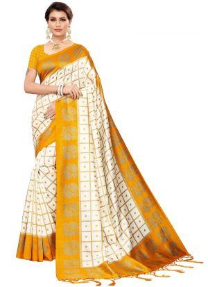 Yellow Printed Regular Use Saree