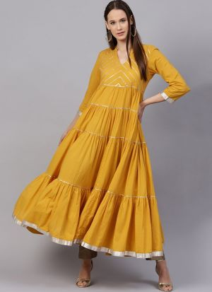 Yellow Pure Cotton Designer Kurti For Ladies