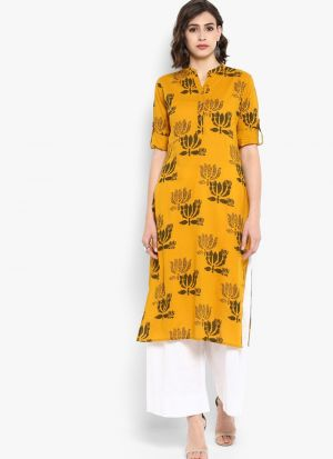 Yellow Pure Cotton Designer Party Wear Long Kurti
