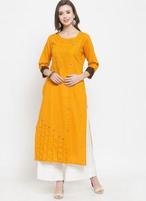 Yellow Rayon Flex Designer Kurti
