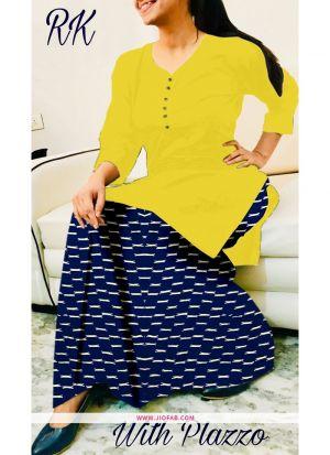 Yellow Rayon Plain Indian Style Tunic Kurti With Palazzo