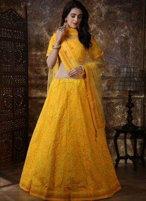 Yellow Silk Designer Lehenga Choli
