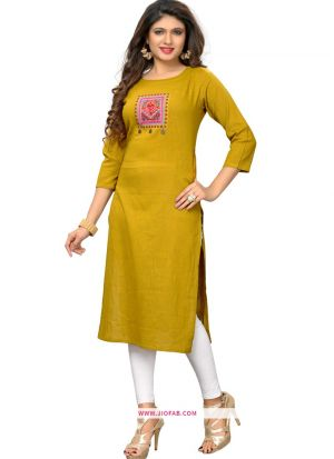 Yellow Slub Cotton Traditional Embroidered Stylish Kurti