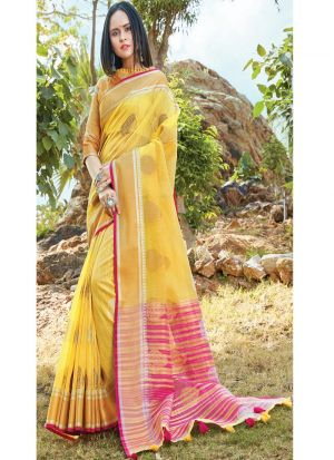 Yellow Traditional South Indian Wedding Linen Cotton Saree